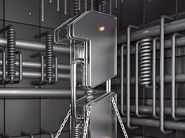 C4D电商-金属字