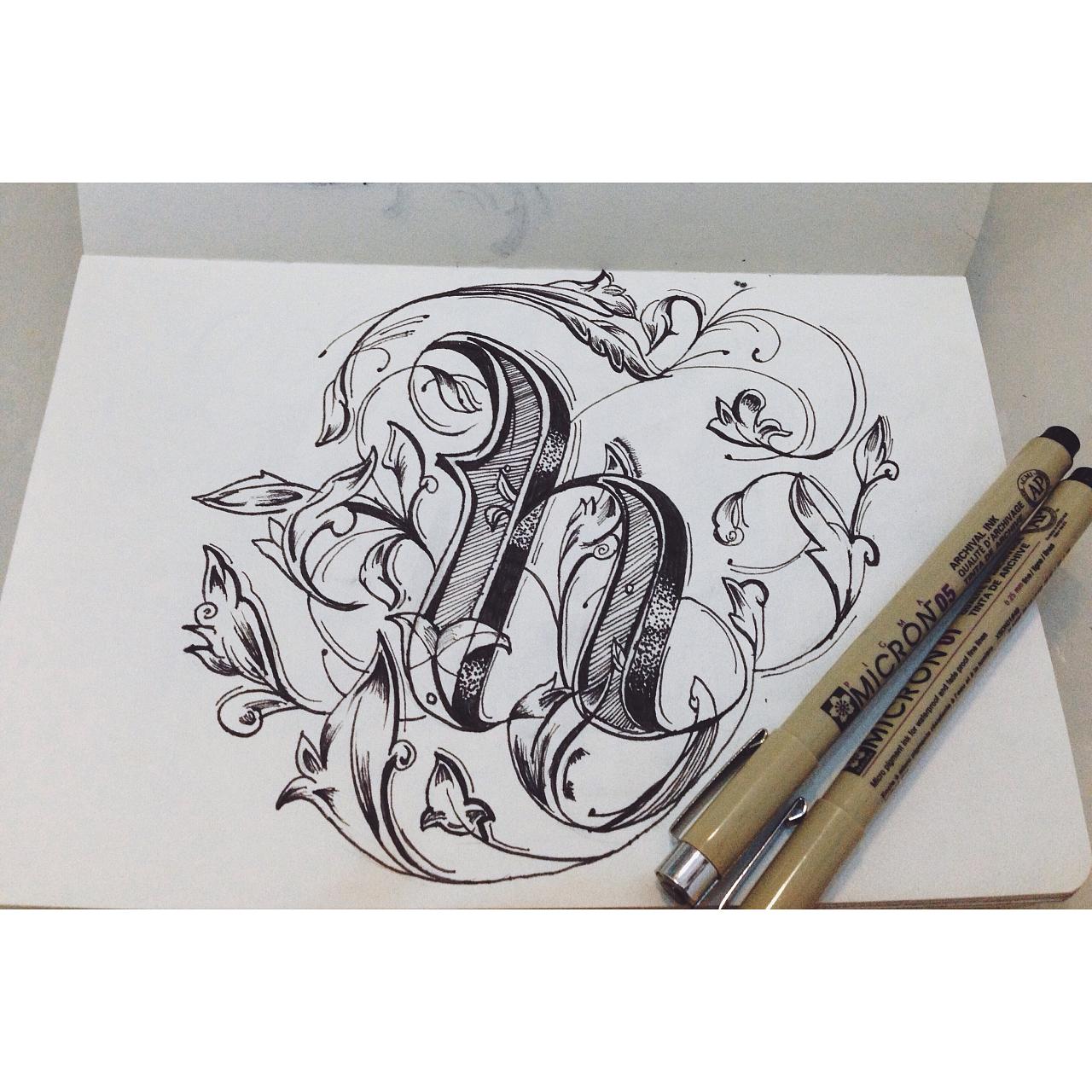 【插画v插画】手绘英文花体绘制练习|实际|表格wps怎样临摹字体插画的尺寸图片