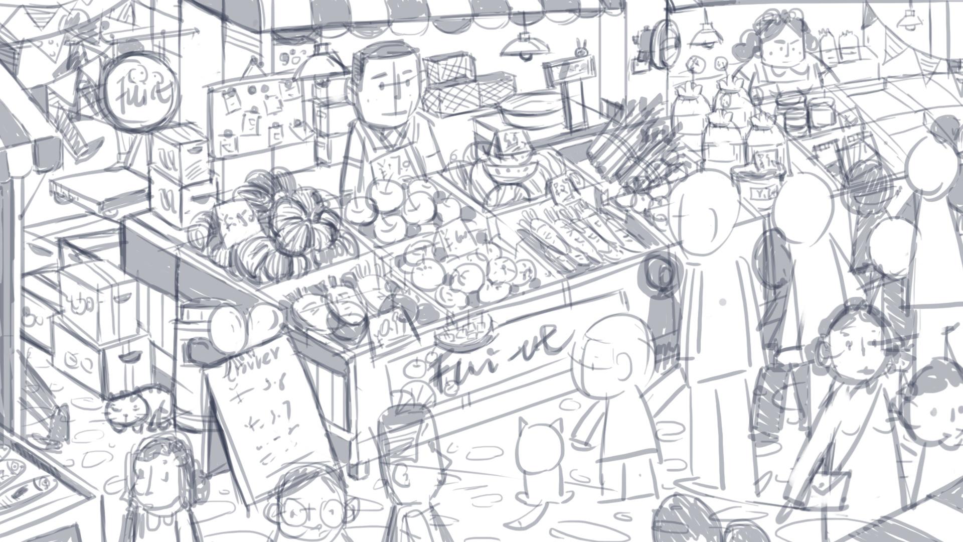菜市场动画场景