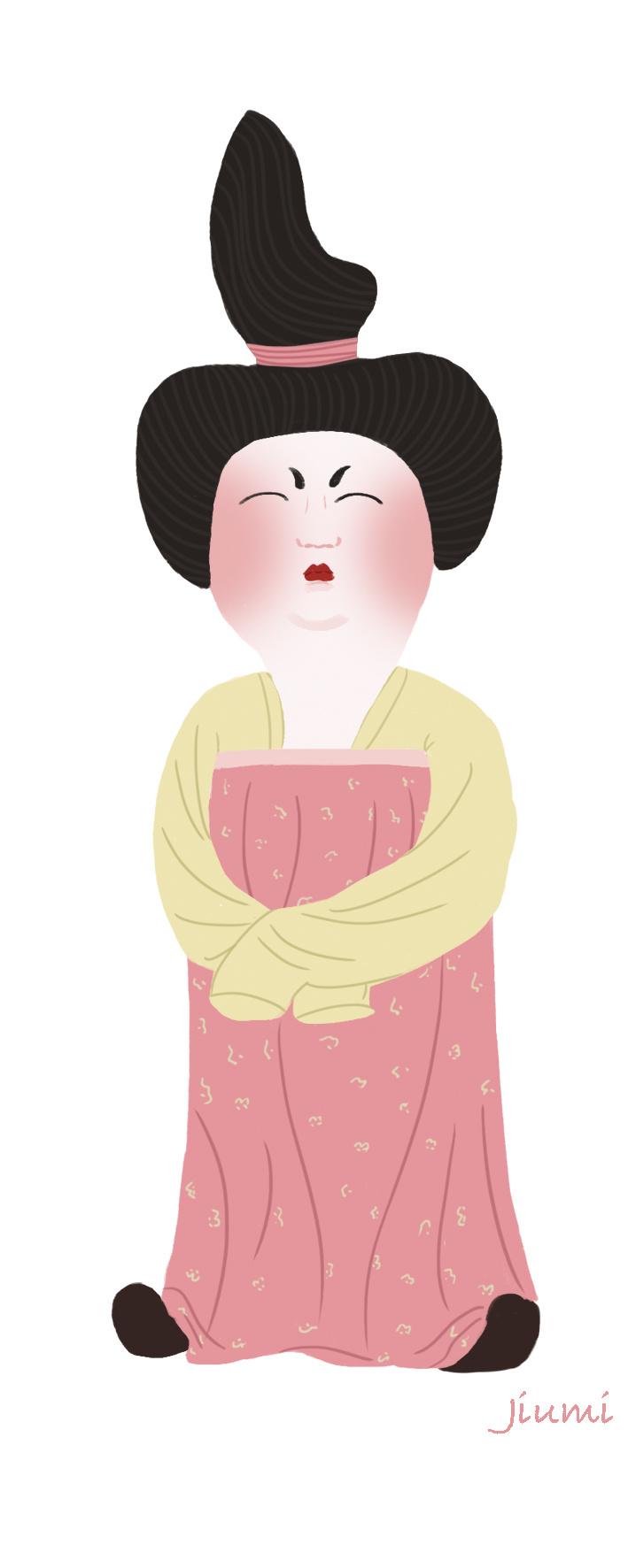 西安唐代仕女俑插画图片