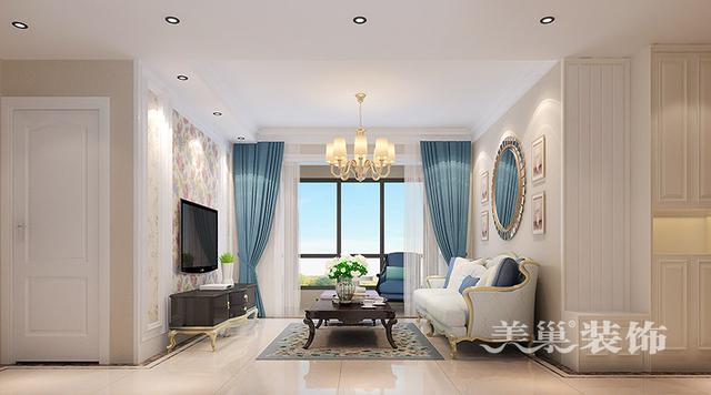 万创都市公馆80平两室两厅装修简欧风格装修样板间设计图片