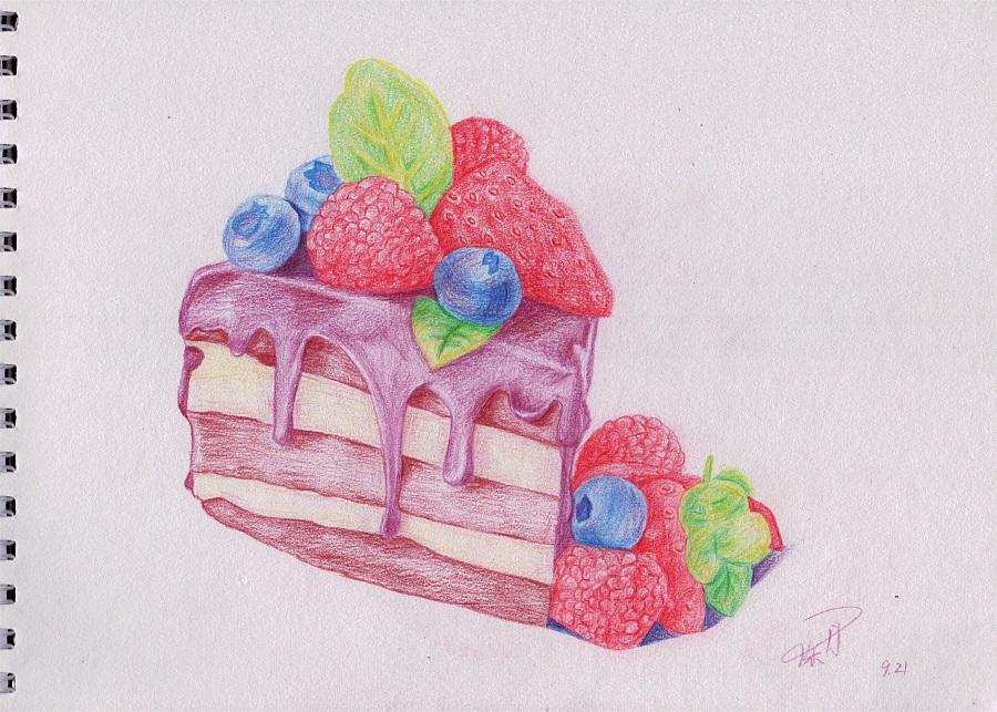 彩铅画蛋糕教程图解