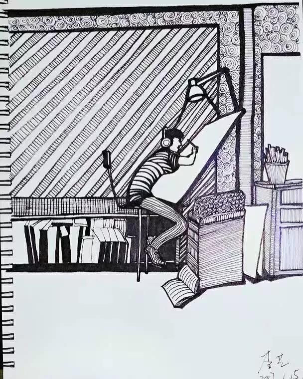 楼梯的倾斜透视图手绘