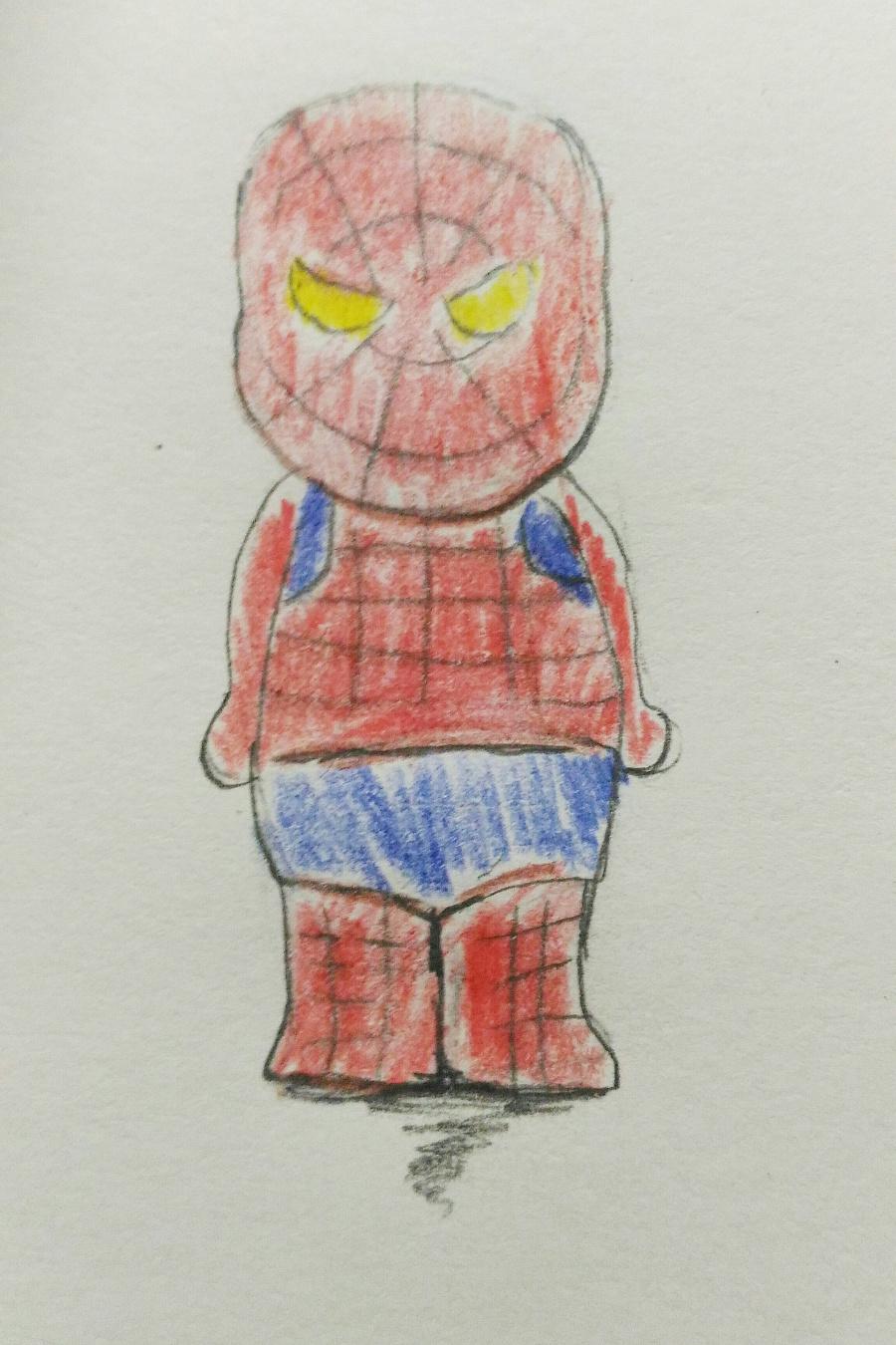 超级英雄 手绘练习 彩铅上色