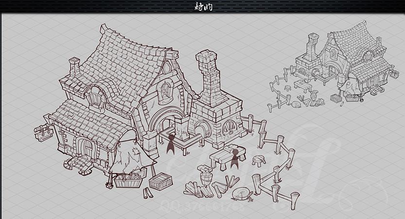 欧式q铁匠铺过程|游戏原画|插画|诗昀