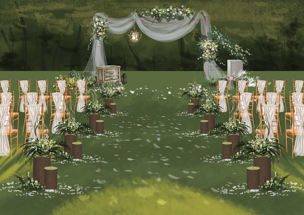 婚礼手绘临摹一张|空间|舞台美术|_小鱼干儿 - 原创