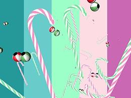 圣诞棍子 彩球 元素素材走一波