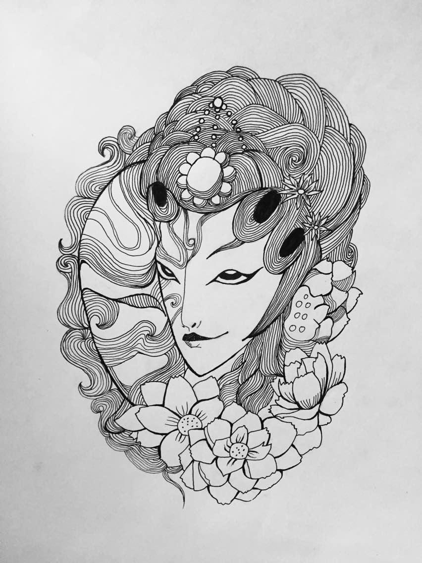 原创作品:手绘黑白画