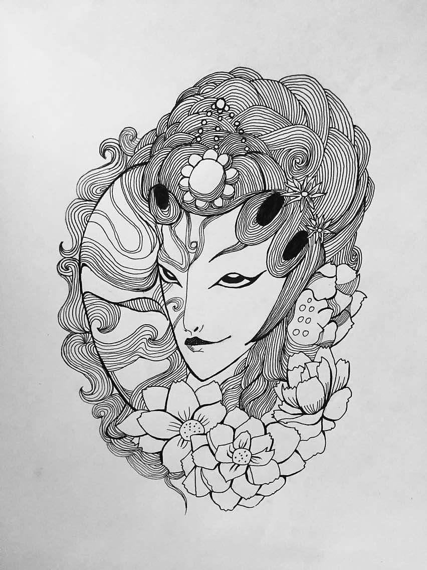 手绘黑白画|动漫|肖像漫画|小七设计密室 - 原创作品