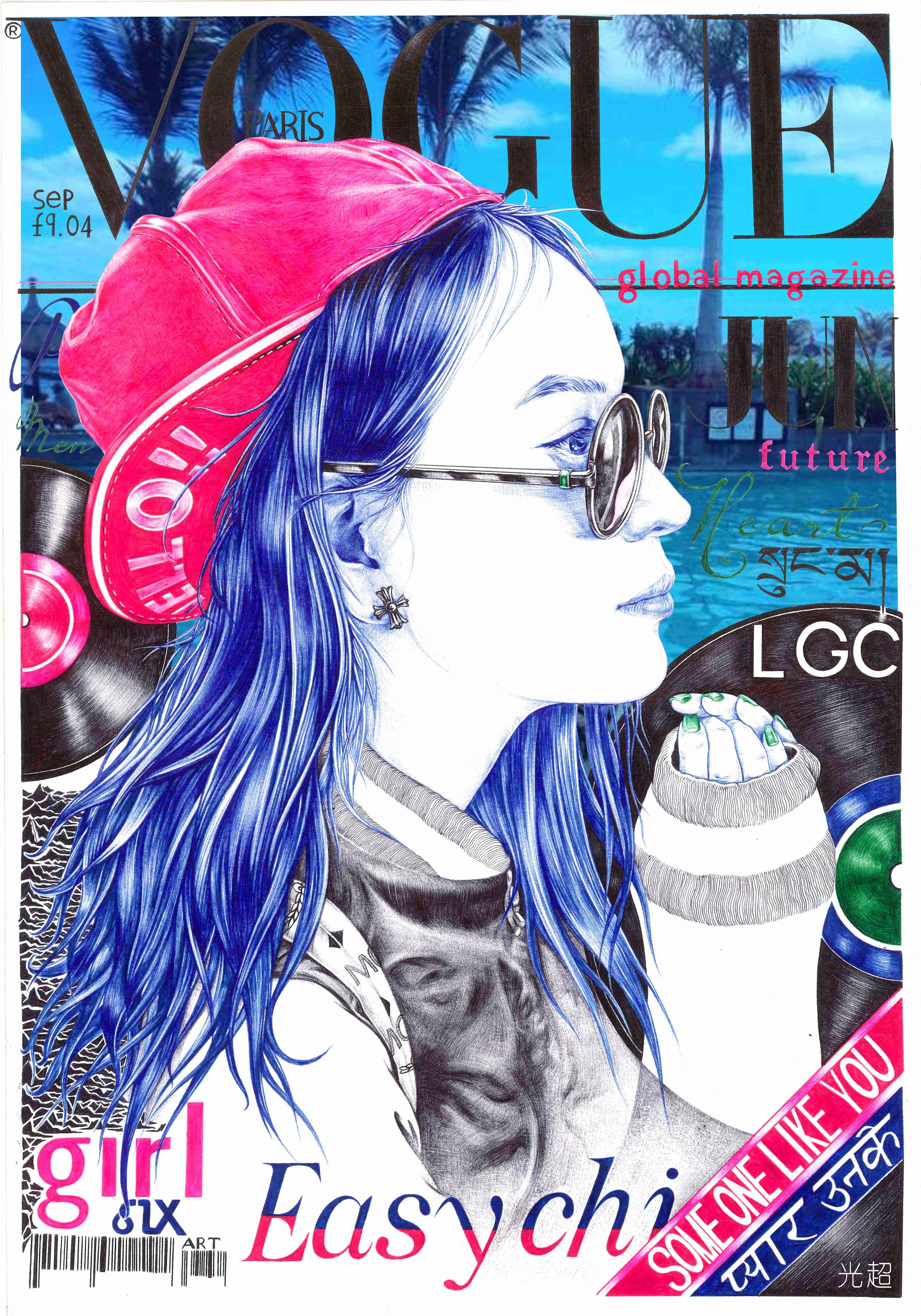 《vogue》 杂志封面彩色手绘
