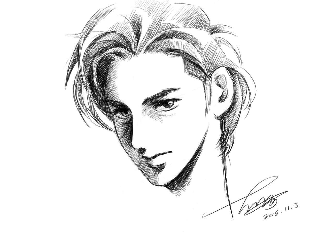 铅笔素描帅哥