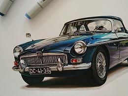 马克笔汽车手绘 MG MGB (1962-1980)
