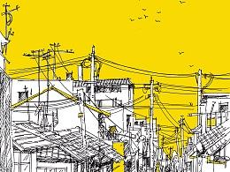 钢笔插画《街景》