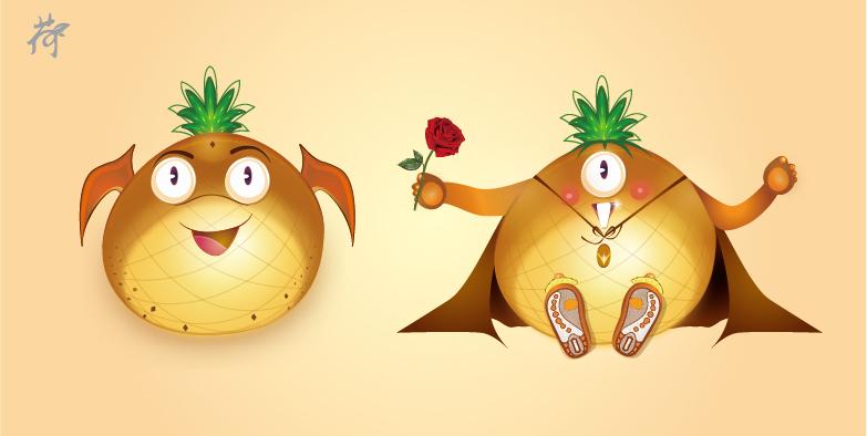 菠萝卡通矢量图