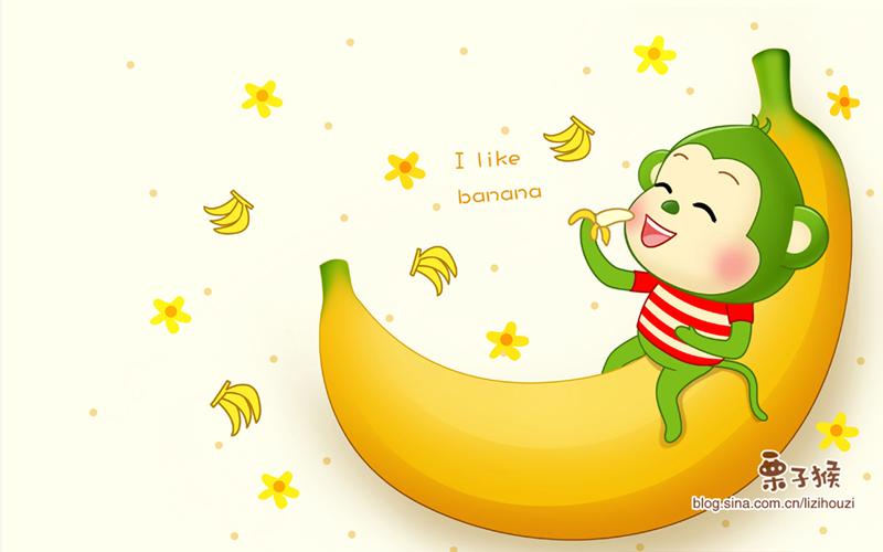栗子猴水果壁纸插画||插画|栗子猴