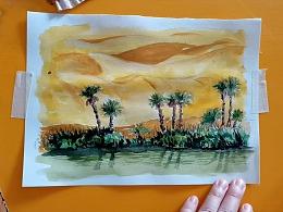水彩画平视角的沙漠绿洲