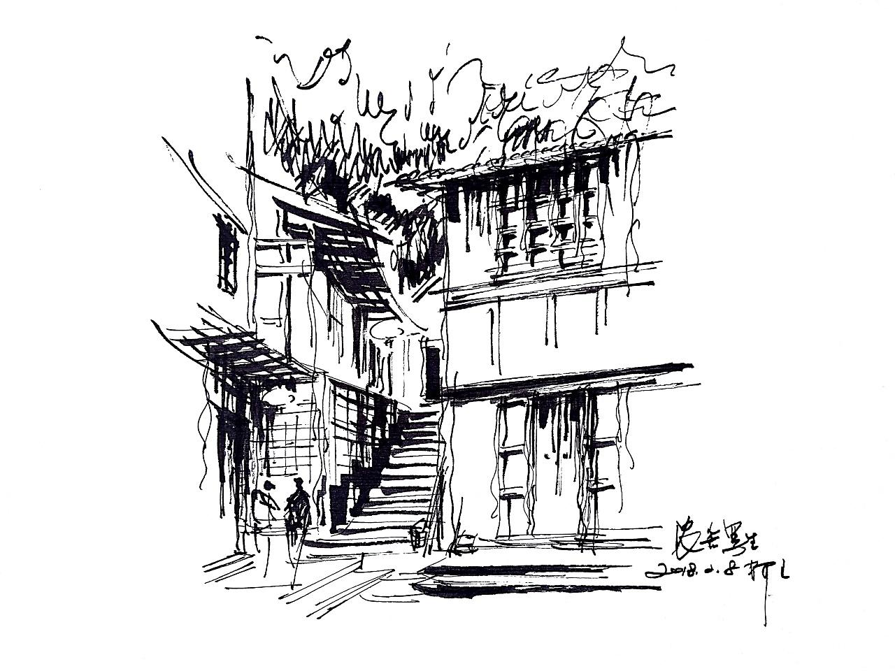 阿王速写钢笔画建筑风景速写