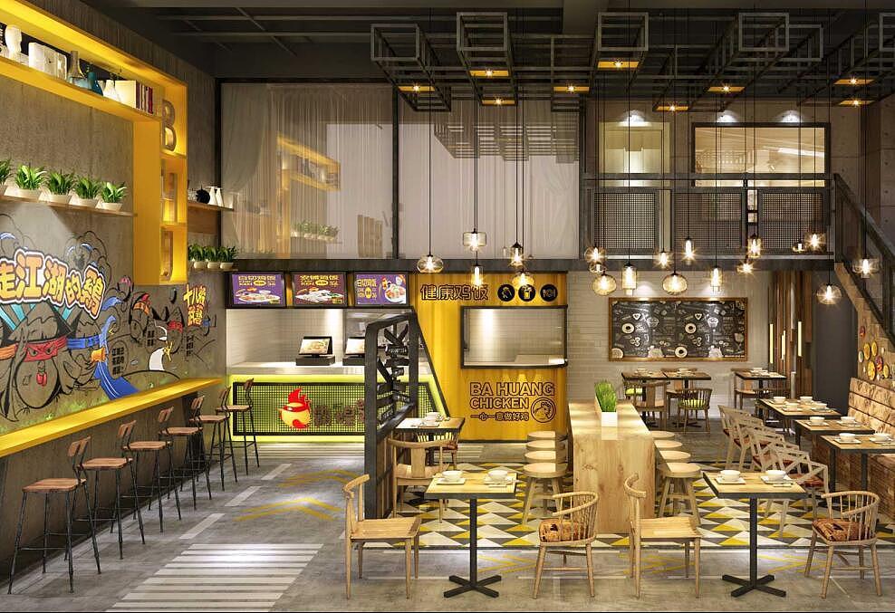 《霸煌鸡-主题炸鸡小吃店设计》-成都炸鸡店装修设计
