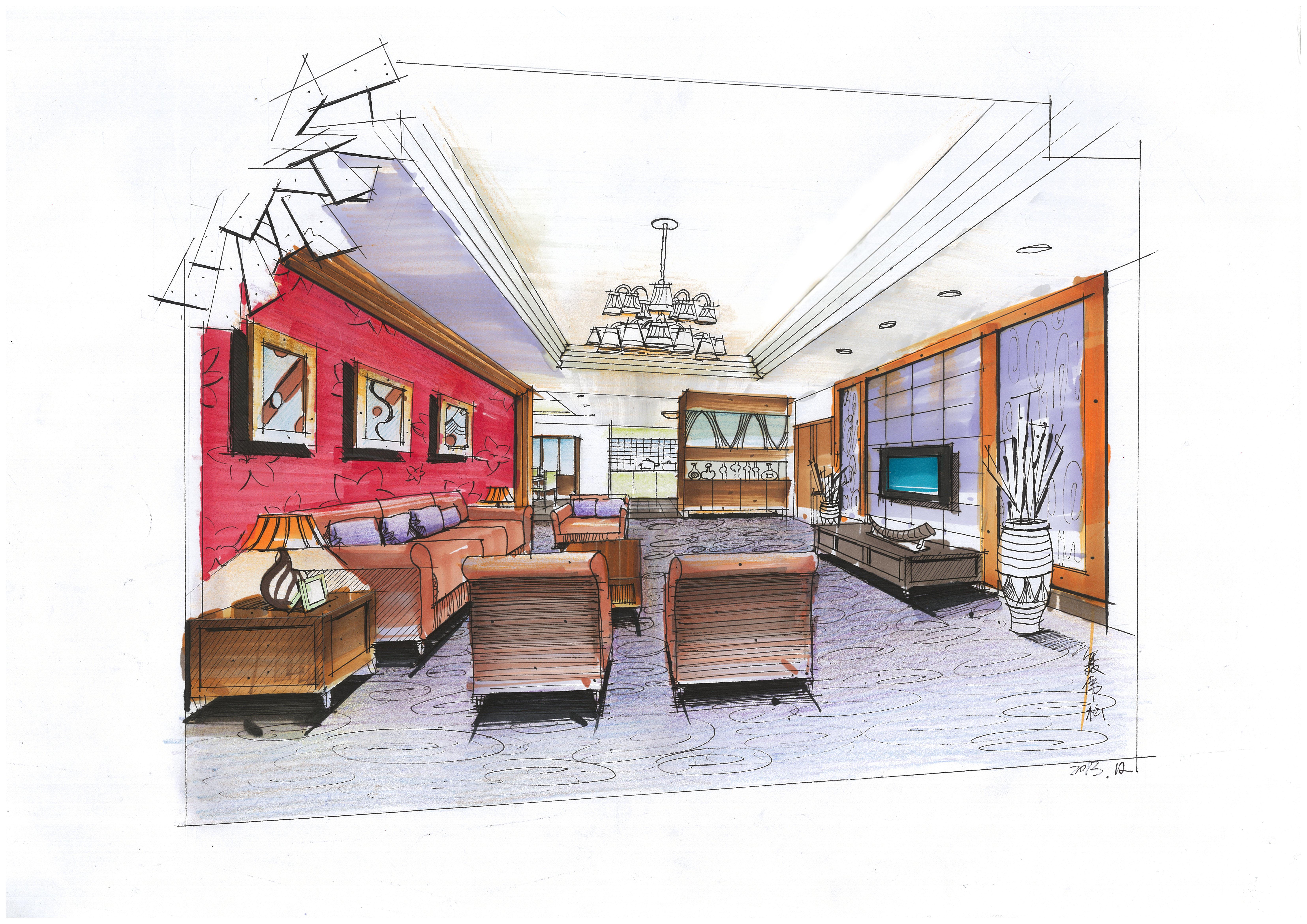 室内手绘|空间|室内设计|perseveredream - 原创作品图片