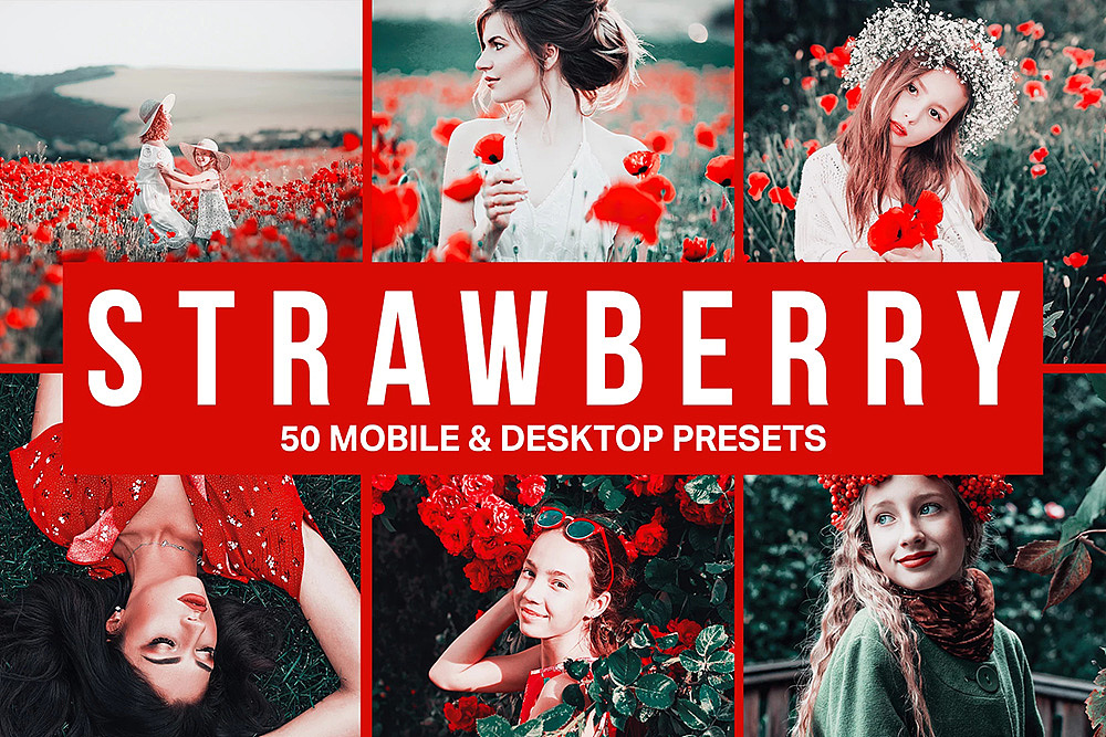【P215】草莓红色调电影胶片LR预设+3DLUT预设sparklestock  Strawberry Lightroom Presets and LUTs