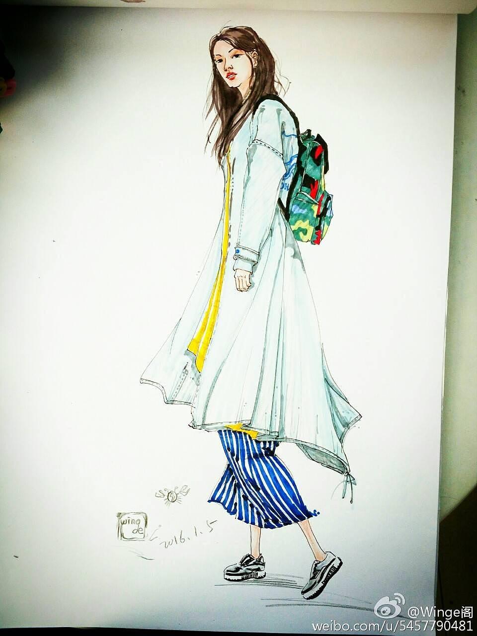 服装效果图手绘图片_手绘服装效果图 服装 其他服装 winge阁 - 原创作品 - 站酷 (ZCOOL)