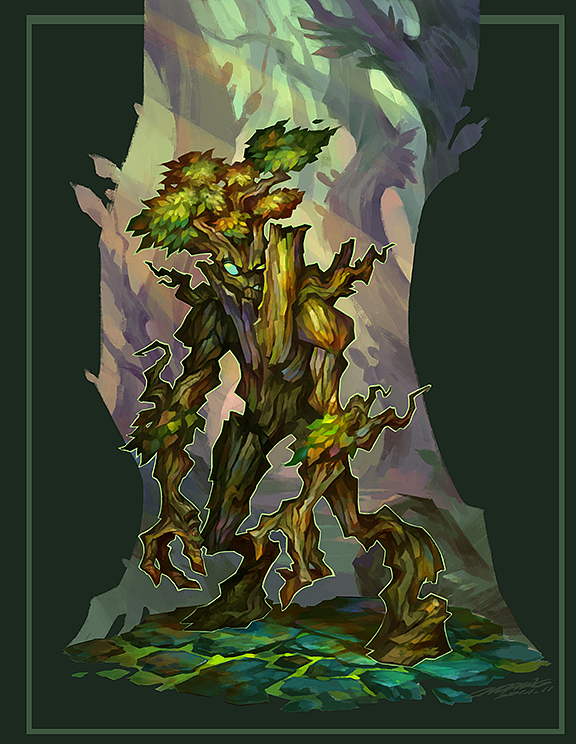 森林守护者,回炉进一步深入之后设计了背景,想要更装饰一点,比较完整图片