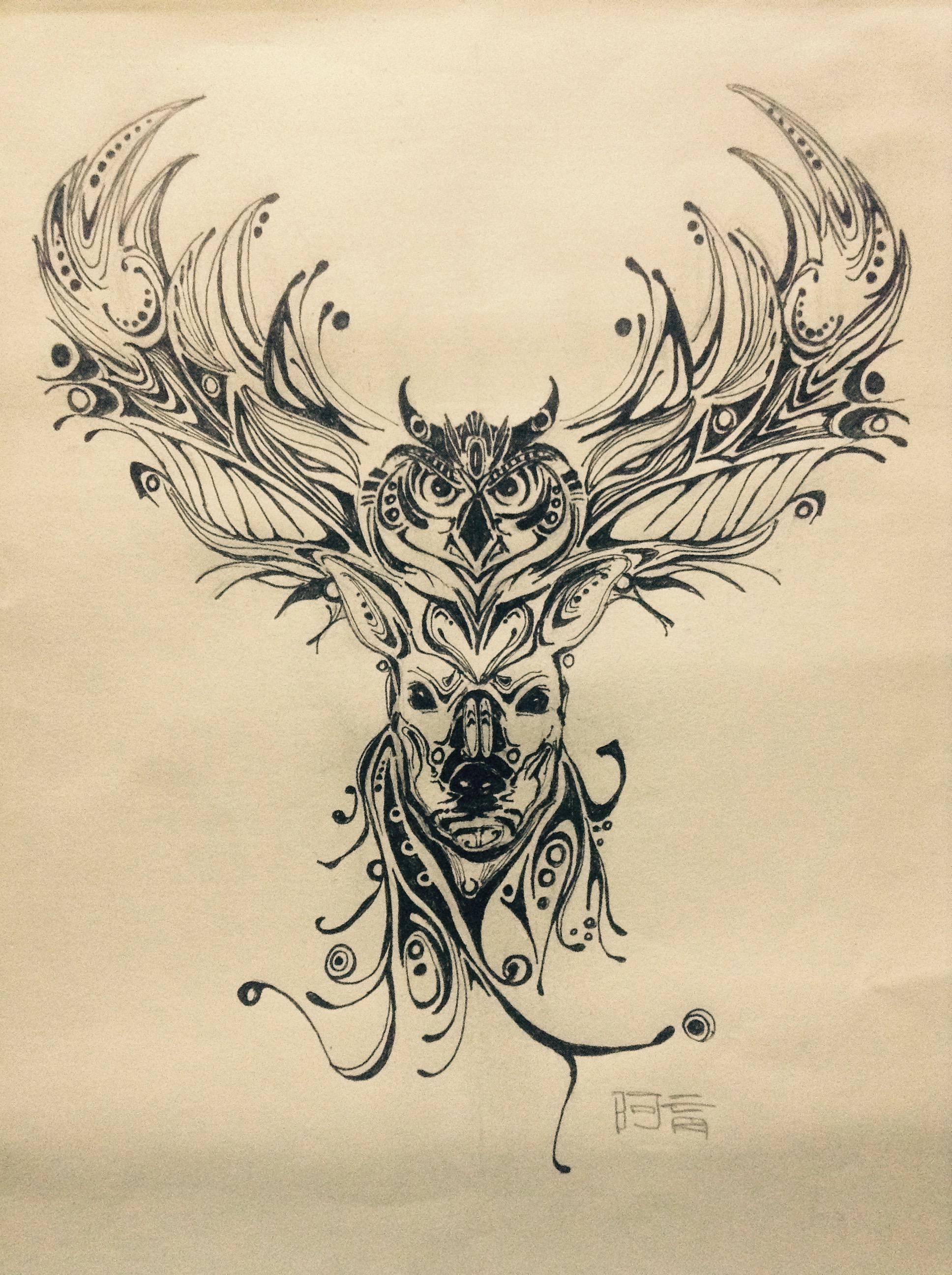 麋鹿与猫头鹰图片