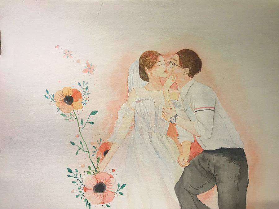 [水彩〕手绘婚纱照定制,甜甜的,暖暖的.