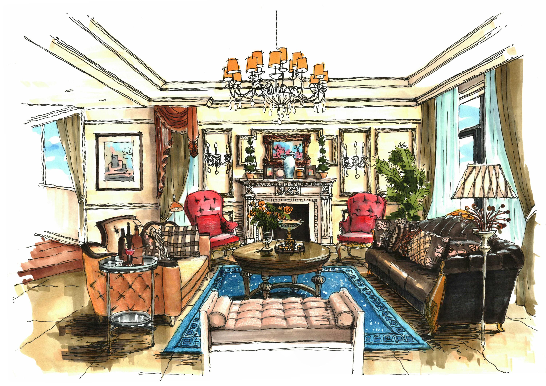 一套别墅设计的手绘图