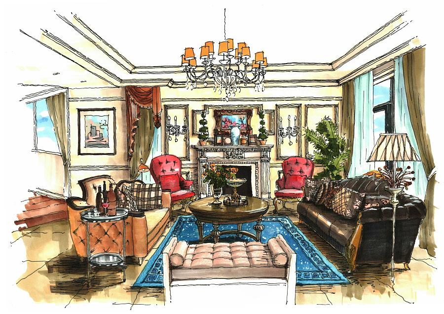 一套别墅设计的手绘图|室内设计|空间/建筑|1932的猫