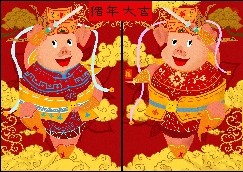 猪年门神|插画|商业插画|无名遇画 - 原创作品 - 站酷图片