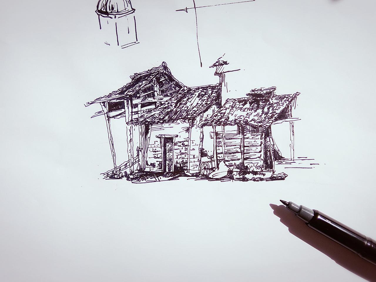 钢笔画手绘