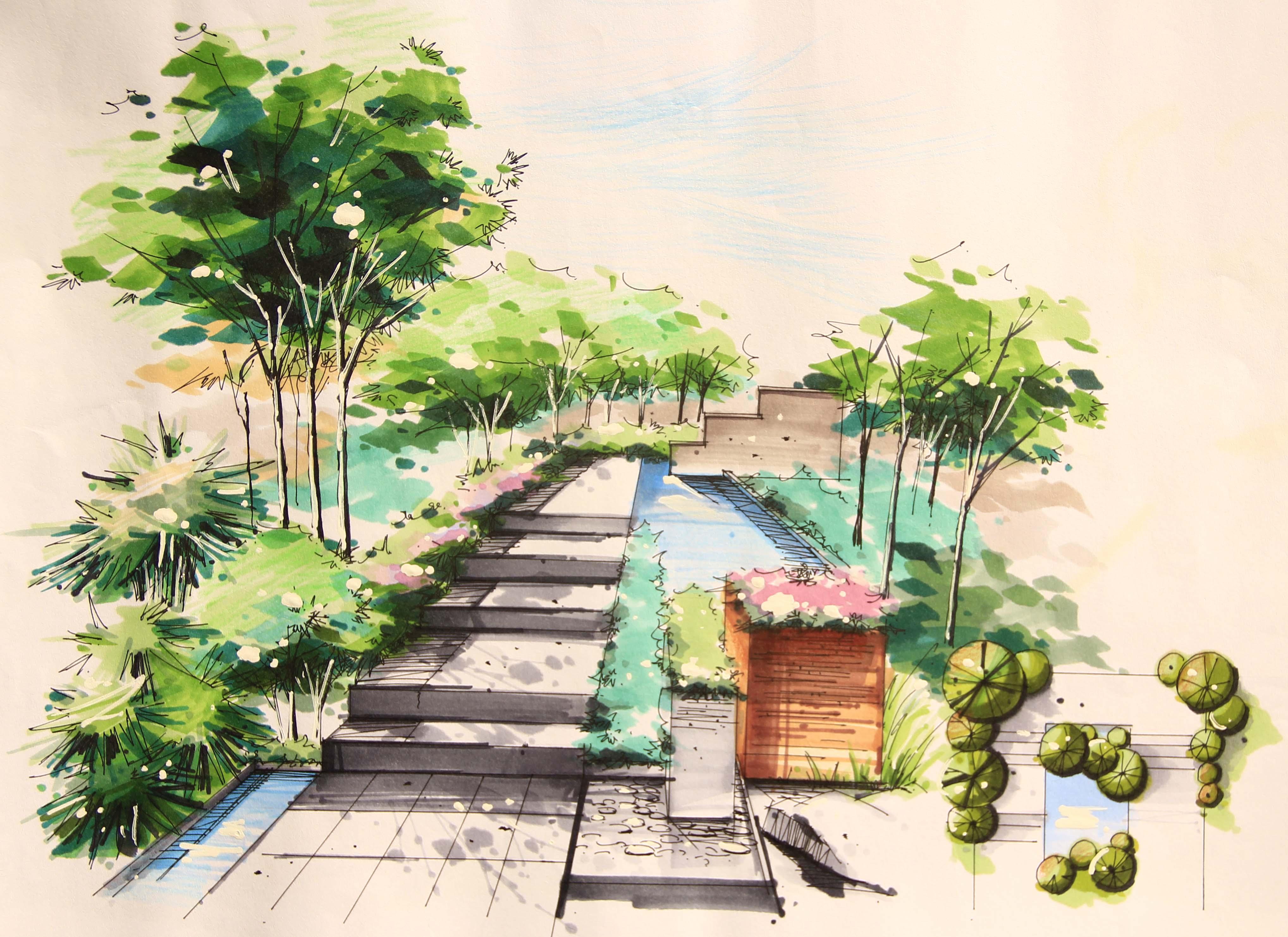 手绘|空间|景观设计|leea