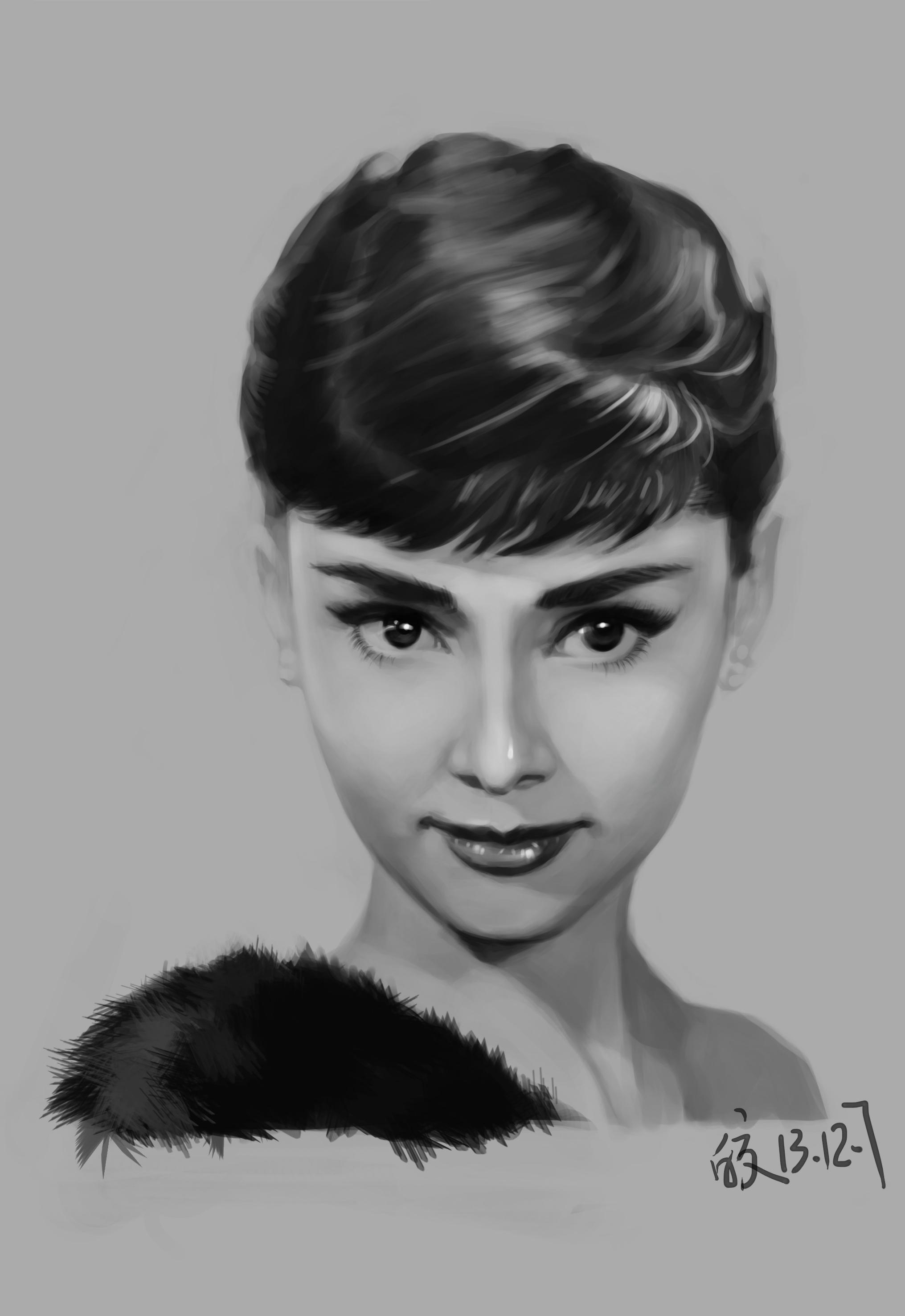 奥黛丽赫本黑白手绘图
