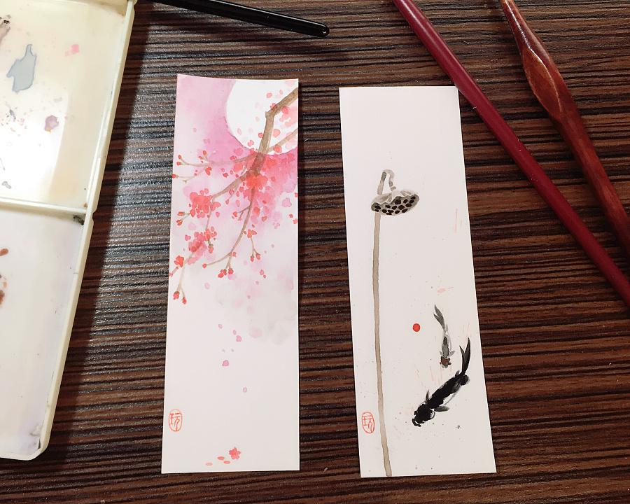 书签|水彩|纯学校|清心无尘-原创设计作品-站哪些在霞山艺术初中好图片
