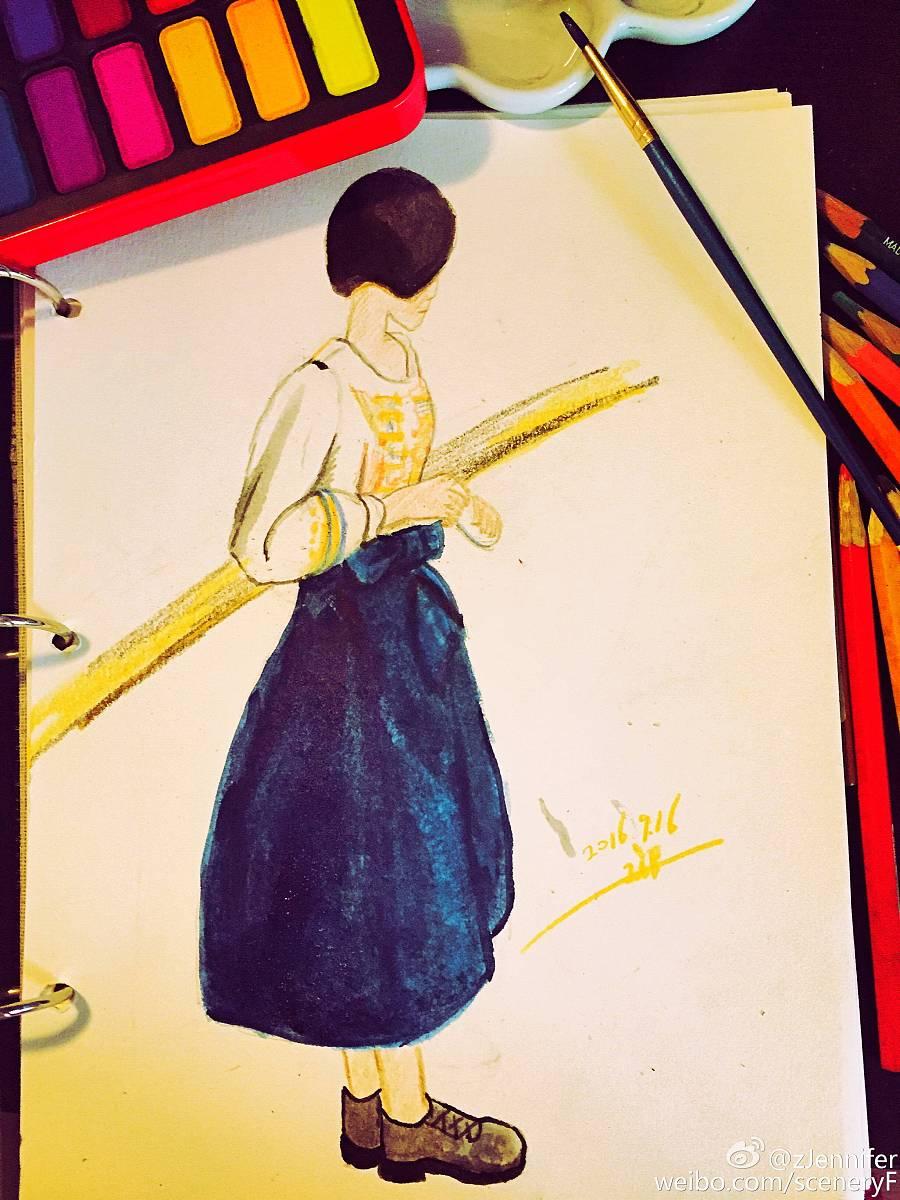 手绘水彩短发女孩儿|水粉|纯艺术|jenniferfer - 原创
