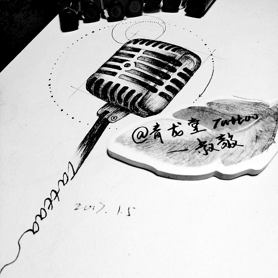 黑白小清新纹身手稿 麦克风