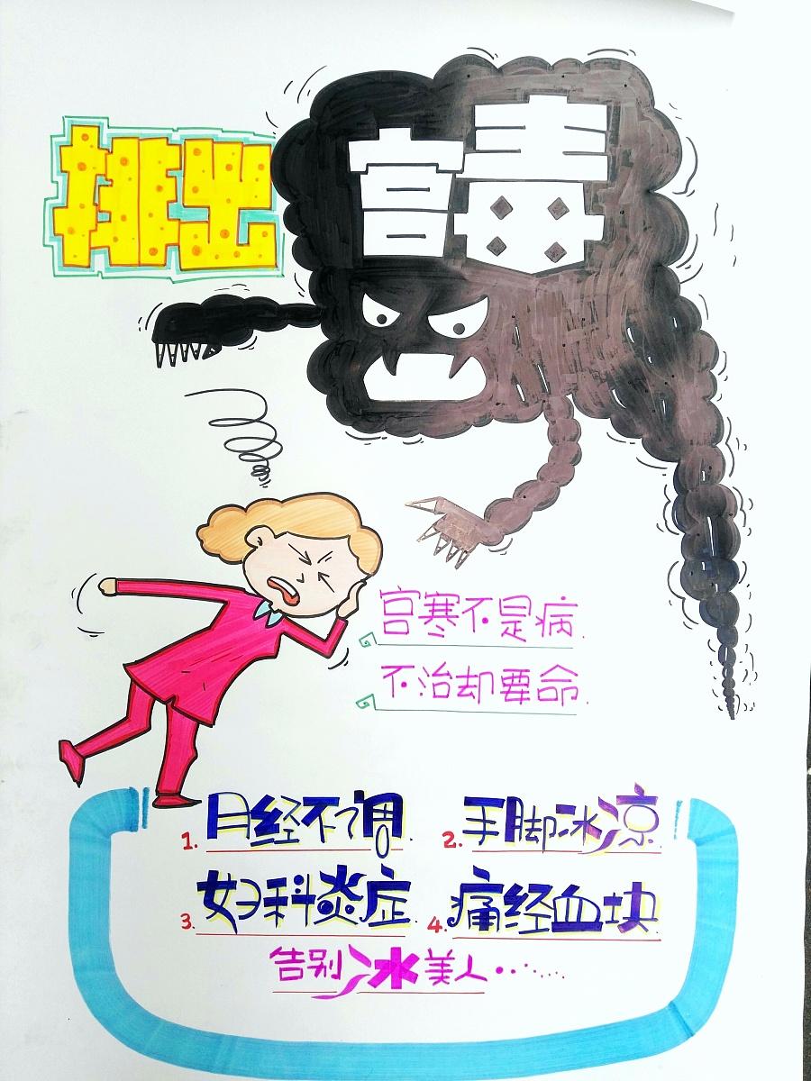 手绘海报,用毒素这个黑色插图作为海报的主标题