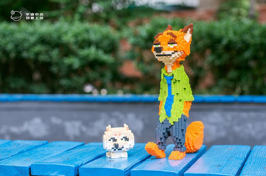 疯狂动物城狐尼克微积木颗粒造型设计