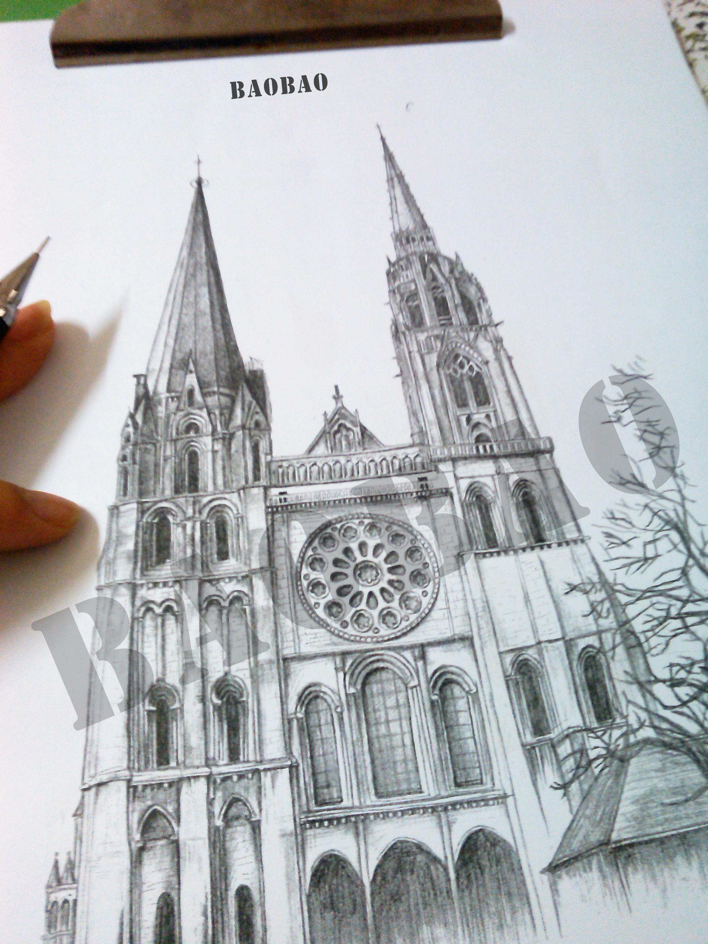 手绘教堂纹身图图片