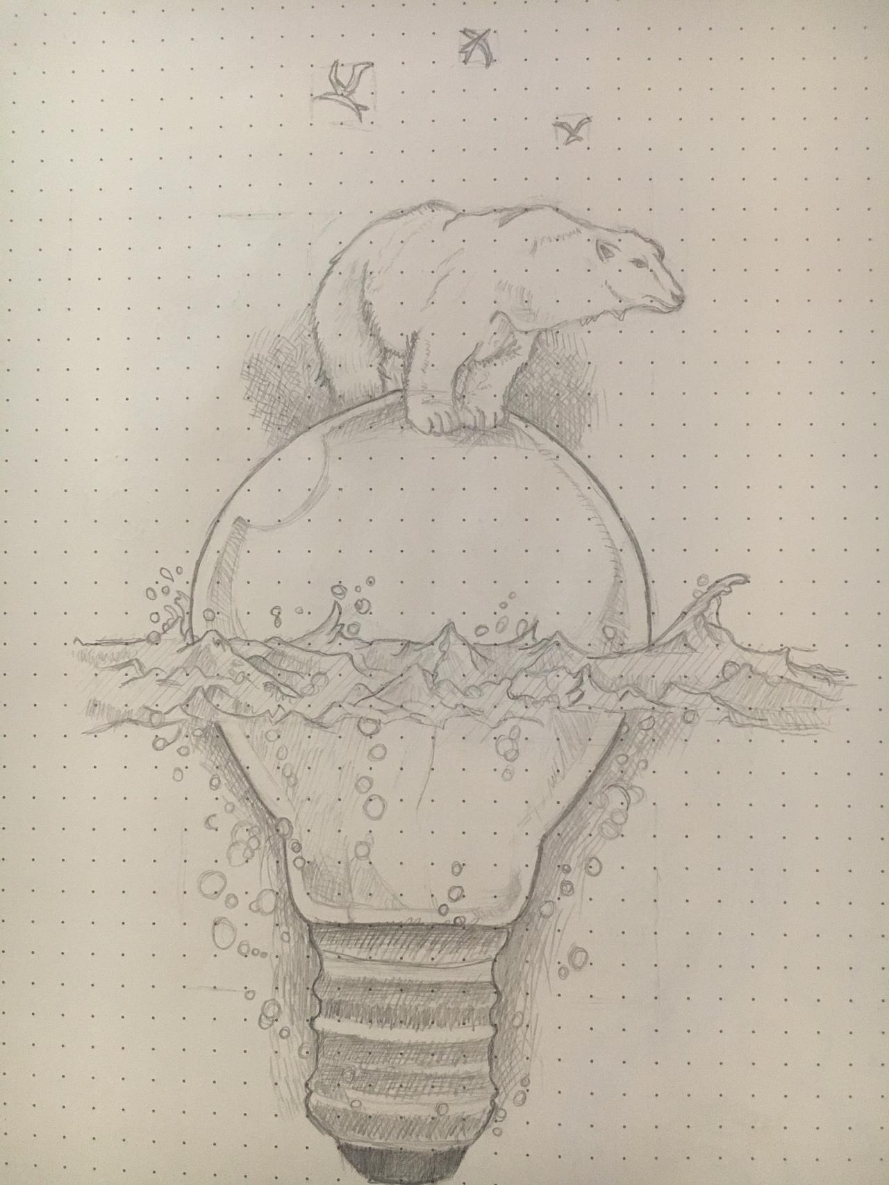 手绘作品,北极熊