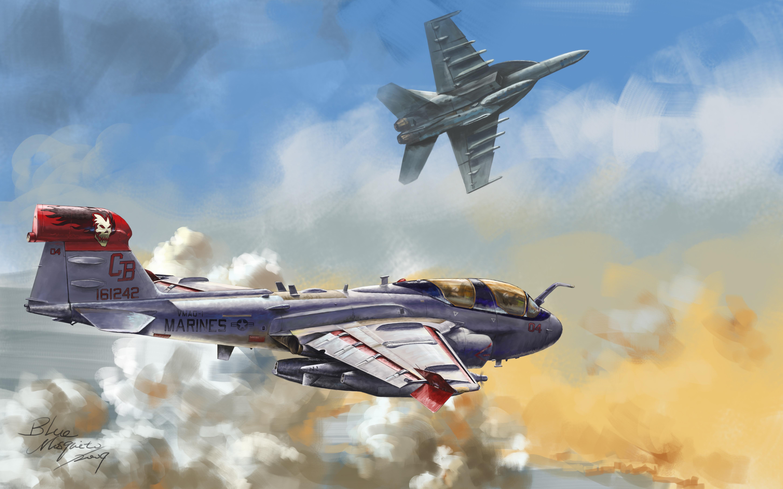 航空题材手绘
