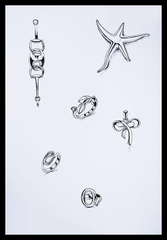 珠宝手绘线稿 实物临摹
