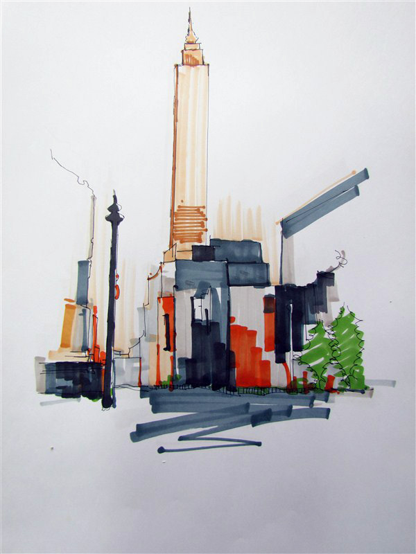 手绘效果图线稿 建筑/空间 三维 zhongyezhou - 原创