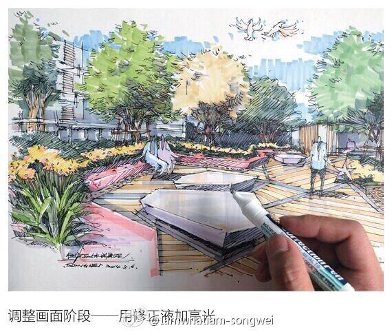 马克笔手绘效果图-步骤详解|建筑设计|空间/建筑