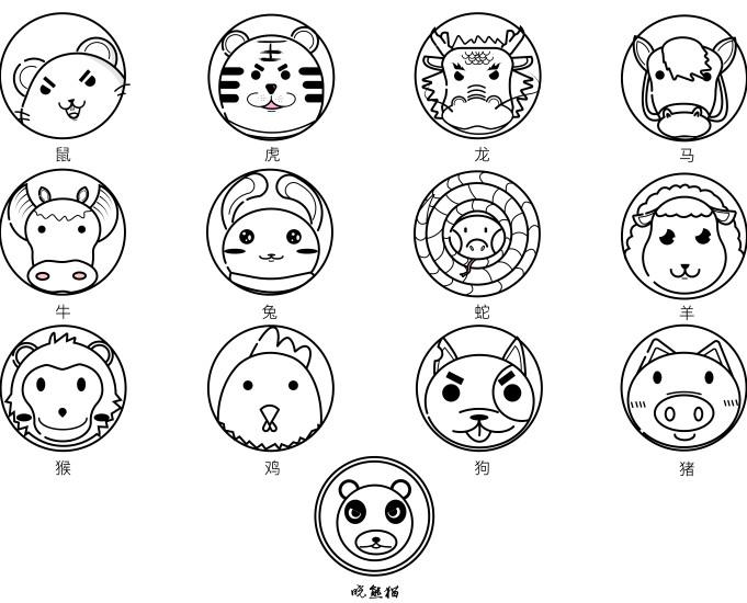 十二生肖卡通形象设计图片