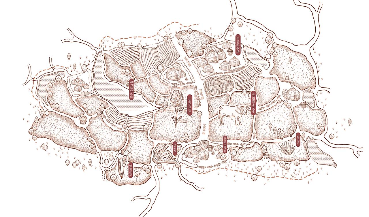 手绘包装地图