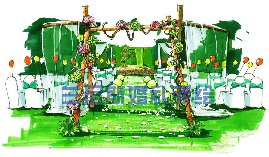 湖南专业婚礼手绘——草坪婚礼