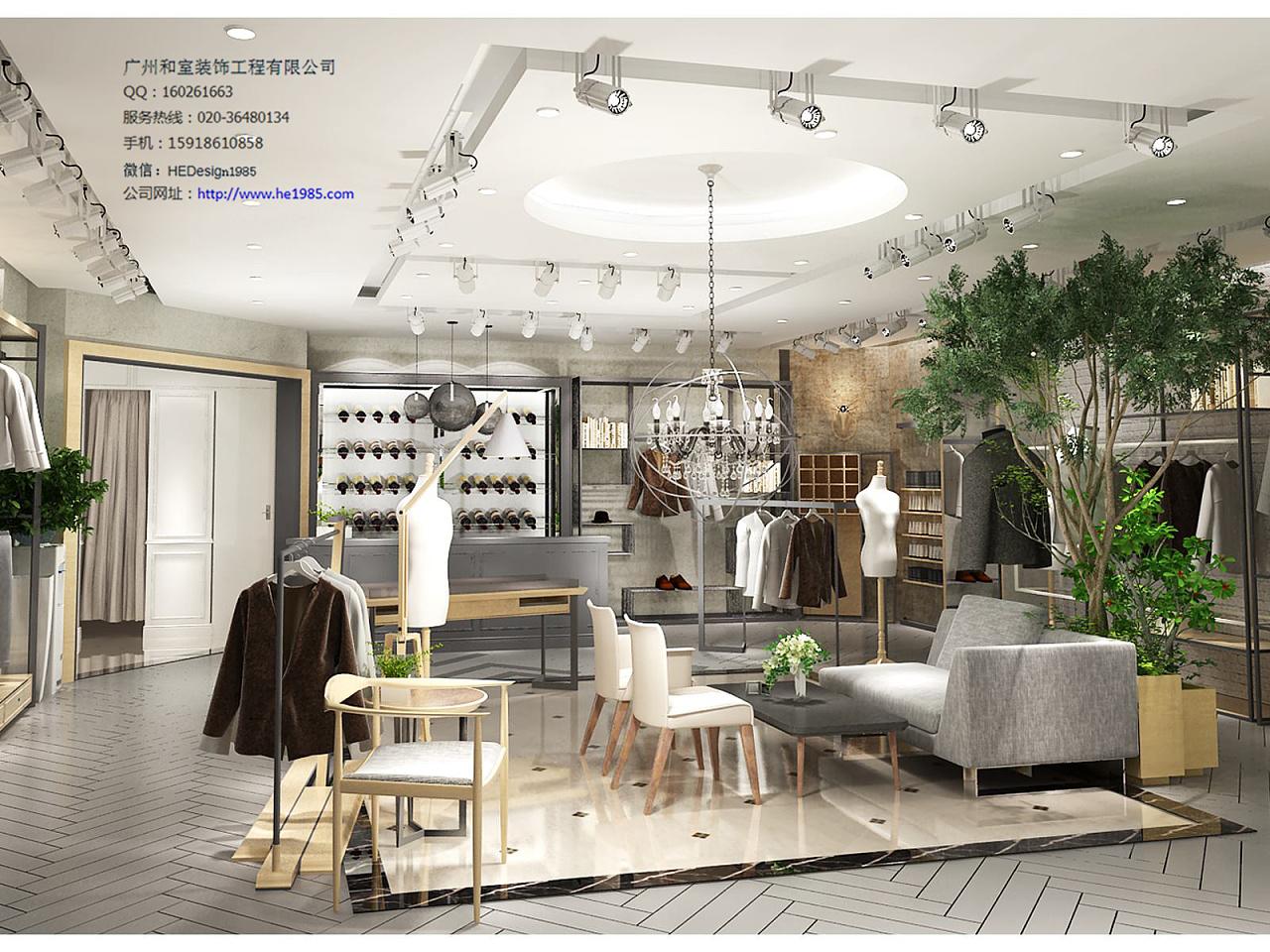 广州服装专卖店装修设计 空间 展示设计  he1985
