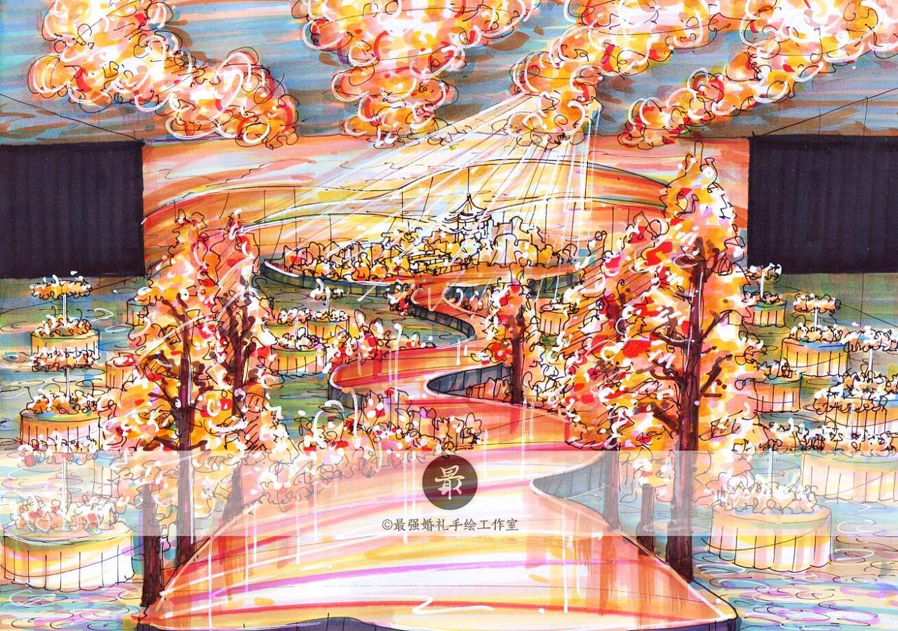 【婚礼手绘】纸面手绘—沙漠厅内效果图